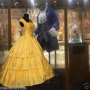 Image is loading 2017-NEW-Belle-Costume-Adult-Beauty-and-the- & 2017 NEW Belle Costume Adult Beauty and the Beast Princess Dress ...