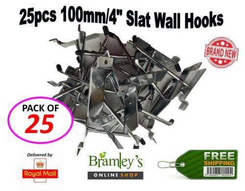 "SLATWALL HOOKS 4/"" RETAIL SHOP WALL SLAT BOARD DISPLAY SINGLE PRONG ACCESSORY"