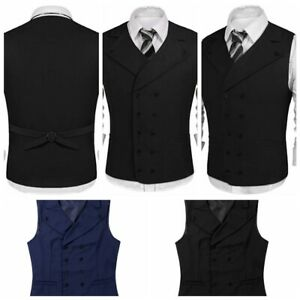 Mens-V-Neck-Formal-Casual-Business-Vest-Suit-Slim-Double-Breasted-Waistcoat-Coat