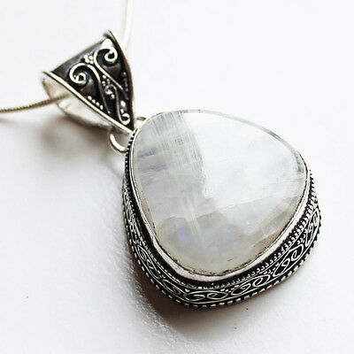 925 Antique Silver Semi-Precious Natural Moonstone  Asymetrical Teardrop Pendant