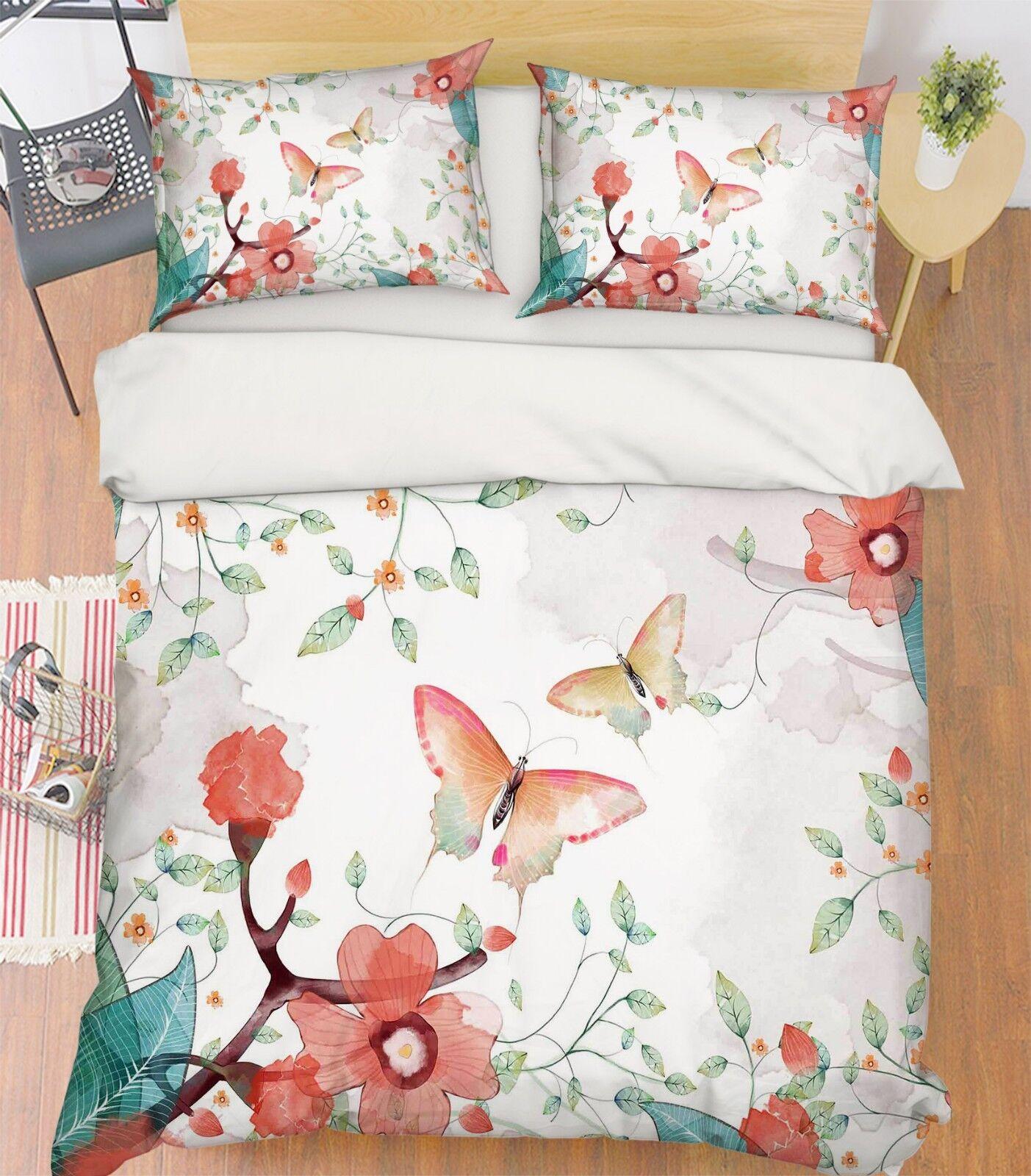 3D Butterfly Leaf 66 Bed Pillowcases Quilt Duvet Cover Set Single King UK Summer