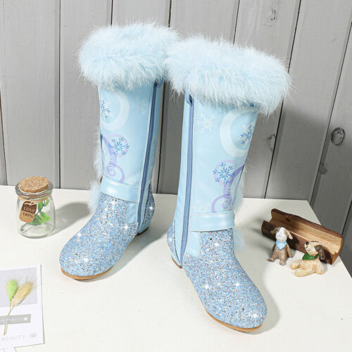 Winter Princess Kids high boots Children/'s over the knee boots Girls snow shoes