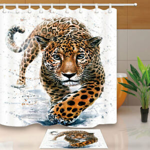 Image Is Loading Wild Animal Leopard Shower Curtain Bathroom Decor Fabric