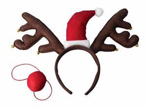 24746631893d1 RUDOLPH THE RED NOSE REINDEER ANTLERS Cloth Christmas Headband Deer ...