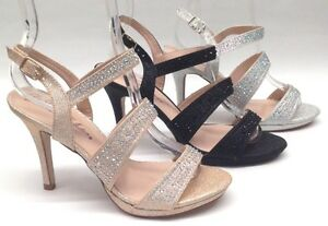 NEW Blossom Marcie25 Womens Wedding Pageant Rhinestone High Heels Shoes Sandals