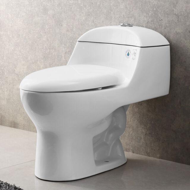 Strange Modern Bathroom Toilet Compact Dual Flushing Elongated One Piece Toilet W Seat Creativecarmelina Interior Chair Design Creativecarmelinacom