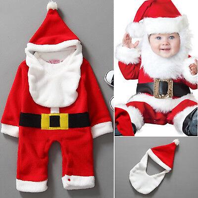 Baby Boys Girls Christmas Santa Claus Costume Pajama Outfit Clothes Set