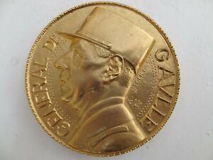 ancienne-medaille-en-bronze-Memorial-du-General-de-Gaulle-ALBERT-DE-JAEGER-1949