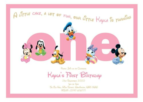 PERSONALISED DISNEY BABY GIRLS 1ST BIRTHDAY PARTY KIDS FIRST ANY AGE AVAILABLE