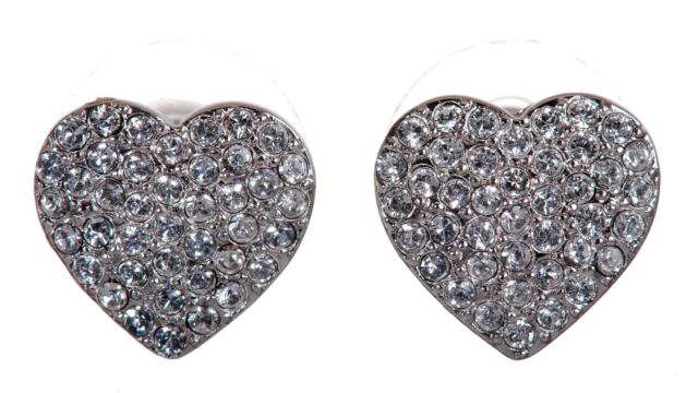 Details About Swarovski Elements Crystal Alana Heart Stud Earrings Rhodium Authentic New 7270z