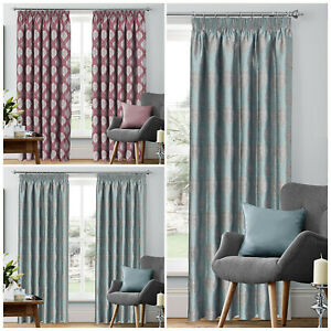 Jacquard-Ready-Made-Pencil-Pleat-Heavy-Fabric-Fully-Lined-Window-Curtain-Panels