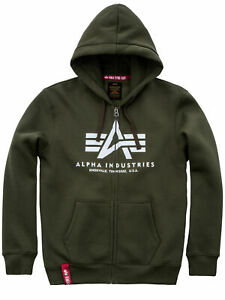 Details about Alpha Industries Hooded Jacket Basic Zip Hoody Dark Green 178325 257 6146 show original title