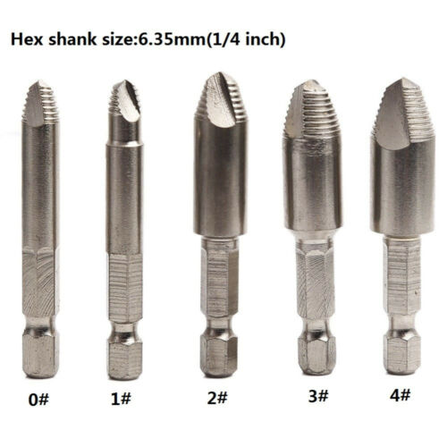 Damaged Screw Remover Extractor Drill tool set with 1/4inch  Hex shank case, 5x