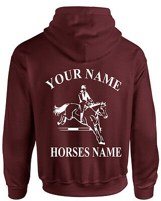 PERSONALISED HORSEY HOODIE-Rider/'s Name and Horse Name-Kids /& Adults Equestrian