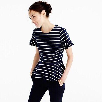 J Crew Womens Striped Flutter T Shirt Sleeve V Neck  Ivory Navy Blue Size Medium