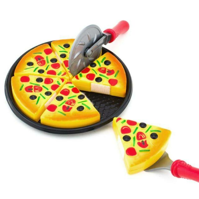 Children Kid Kitchen Pizza Party Fast Food Slices Cutting Pretend Play Food Toy