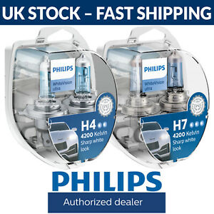Philips-WhiteVision-Ultra-White-Vision-Car-Headlight-Bulbs-H4-H7-Fittings-Twin