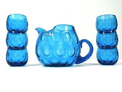 Vintage Blue Bubble Glass Barware Pitcher And Glasses