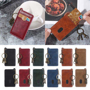 Keychain-Solid-Money-Pocket-Small-Wallet-Card-Holder-Leather-ID-Credit-Case