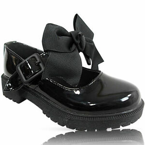 GIRLS LADIES CHUNKY LOW BLOCK BOW MARY