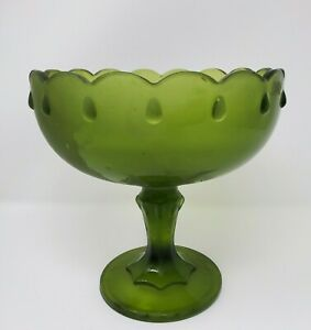 Vintage-Indiana-Glass-Frosted-Avocado-Green-Teardrop-Compote-Bowl-Pedestal