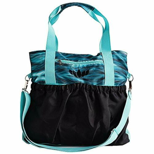 Mat Or Tote Has Many Pockets With Inside Padded Tablet Aqua Small Yoga Bags /&