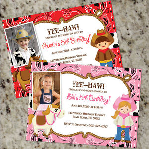 Yee haw cowboy cowgirl birthday party invitations free shipping image is loading yee haw cowboy cowgirl birthday party invitations free filmwisefo