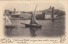 MARSEILLE 24 l'avant-port voiliers timbre rouge 10 cent. droits de l'homme 1902
