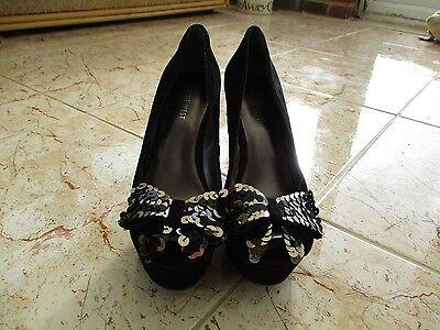 Super Nine West Damas Gamuza Negra Peep Toe Platform Fiesta Zapatos Talla 5.5 Reino Unido