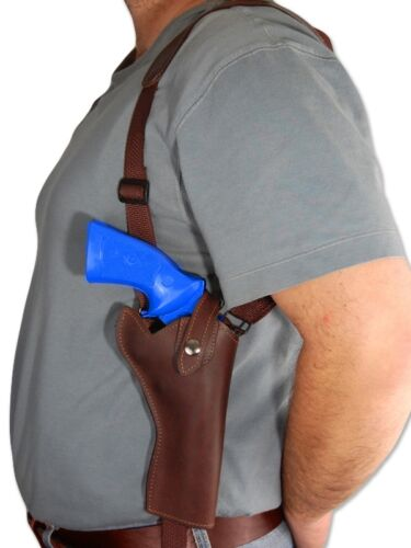 """NEW Barsony Brown Leather Vertical Gun Shoulder Holster for S/&W 4/"""" Revolvers"""