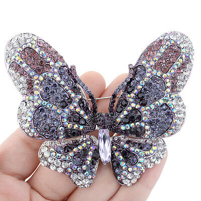 "2.83"" Large Glaring Butterfly Brooch Pin Austrian Crystal Purple Insect"