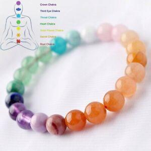 Lucky Beads Natural Crystal Stone 7 Chakra Bracelet Healing Bangle Women Yoga