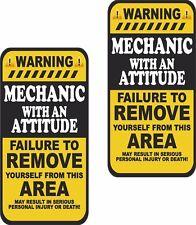 "Mechanic Warning Attitude Decal SET 3""x1.5"" Tools Motorcycle Sticker Tools WS2"