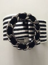 NWT Authentic Chanel Black White Striped Chain Buckle Belt Size 90 36