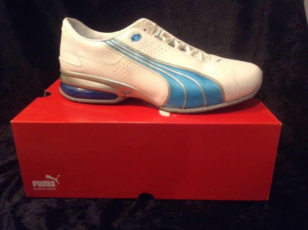 NEW w/ PUMA Cell Tolero Weiß w/ NEW Turquoise Satin & Silver Running Schuhe Sneaker 12 0139c1