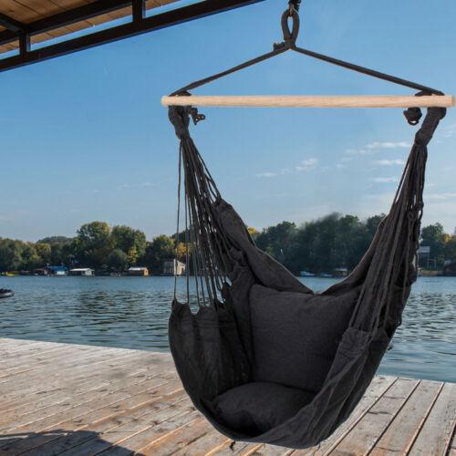 Luxus Veranda Decken Hänge Schaukel Sitz Sessel Textil anthrazit 2x Kissen Holz