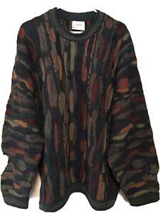 Seltene Vintage cuggi COOGI Wolle Pullover Herren XL Biggie dunkle Farben Australien