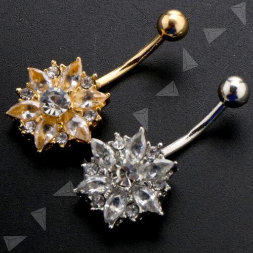 1x Bauchnabelpiercing Kristall Blume Schneeflocke Piercing Körperschmuck