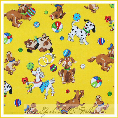 BonEful Fabric Cotton Quilt Yellow Poodle Dot Ball Puppy Dog B&W Star Toy SCRAP
