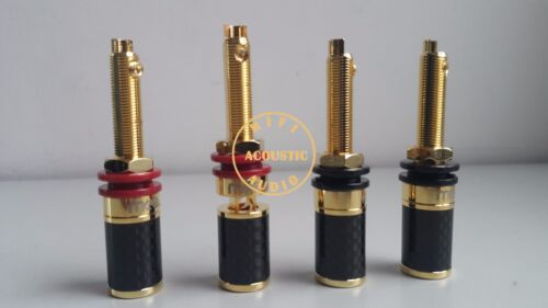 4x M-Audio Gold Plated Carbon Fiber Amp Speaker Terminal Binding Post