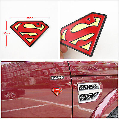 Red & Yellow Metal 3D Superman Emblem Decal 3M Sticker Badge For Honda Civic Fit
