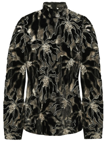 BEAUFILLE Embroidered Burnout Velvet and Lace Lon… - image 1