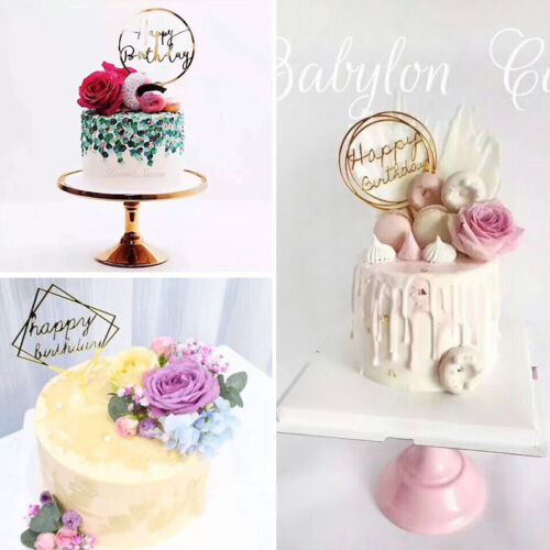 5Pcs Cake Happy Birthday Cake Topper Card Acrylic Cake Party Decoration Supplie