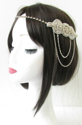 Silver Chain Headpiece Vintage 1920s Flapper Great Gatsby Headband Diamante R80