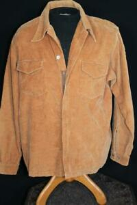 VINTAGE 1970'S TAN COTTON LONG SLEEVE FLAP POCKETS CORDUROY SHIRT SIZE LARGE