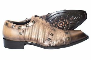 c34dacc63d3e Details about Jo Ghost 2870 Italian mens camel lace up shoes with  perforations and metal squa