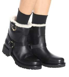 437b3bf469f Image is loading Tory-Burch-Henry-Genuine-Shearling-Black-Leather-Ankle-