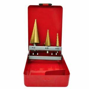 vidaXL 3 Piece HSS Step Drill Set 4-12/4-20/4-32mm Titanium Coated Top Tool