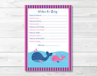 Lil Pink Whale Printable Baby Shower Wishes For Baby Advice Cards