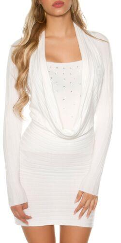 KOUCLA miniabito vestito abito a Maglia Maglione Pullover con strass